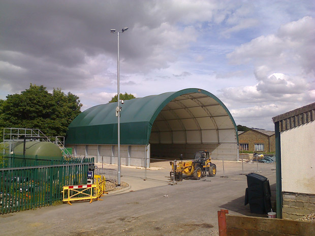 The new salt barn at Willingham Hall highways depot near Market Rasen