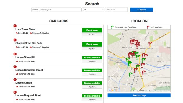 An example of how to book parking spaces on Parkonomy's website