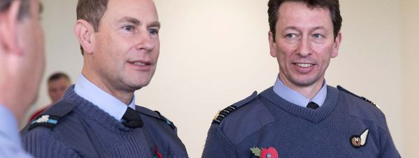 Prince Edward with RAF Waddington Station Commander, Group  Captain Rich Barrow