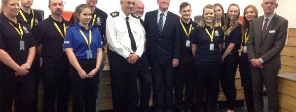 Lincolnshire Police bosses with their newly recruited student volunteers at the University of Lincoln.