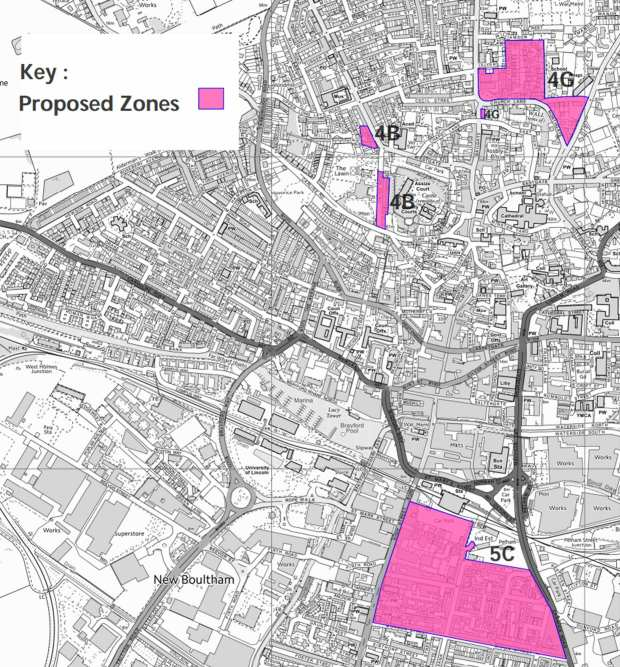 A map of the proposed zones for the project