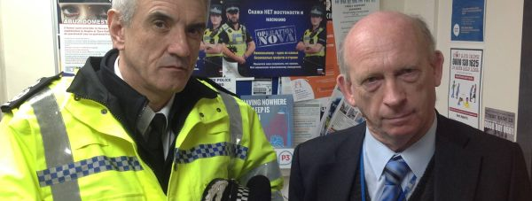 Chief Constable Neil Rhodes with Cllr Stephen Woodliffe of Boston Borough Council at the relaunch of Operation NOVA.