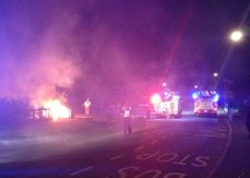 Fire crews tackling the blaze on Romney Close in Lincoln