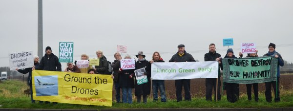 Anti-drone protestors gathered at RAF Waddington on January 5