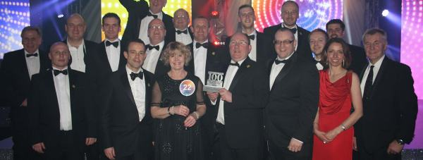 Employees from Lindum Group receiving their award at the Sunday Times Best 100 Companies to Work For' awards ceremony.