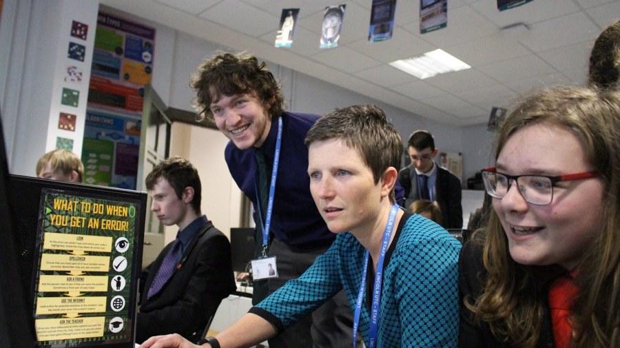 Lincoln UTC Principal Rona Mackenzie being taught how to play Minecraft. Photo: Year 13 student Ben Clark