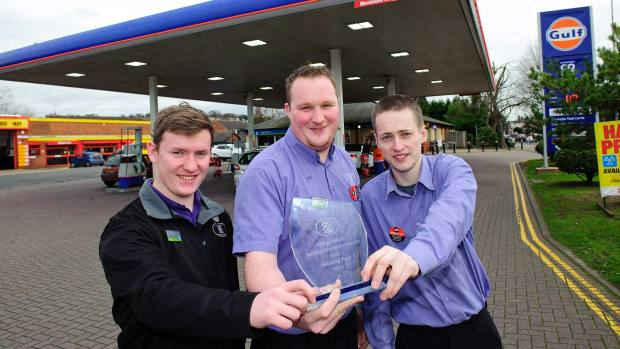 Kieran Patterson, Craig Chamberlain and Sam Young from the Winning Post filling station in Lincoln. Photo: Lincolnshire Co-op