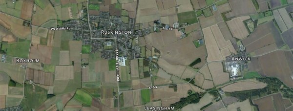 The crash happened on the A153 between Anwick and Speedway corner near Ruskington. Photo: Apple Maps