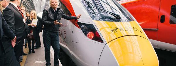 Sir Richard Branson unveils the new Virgin Trains East Coast Azuma fleet at London King's Cross