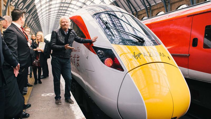 Sir Richard Branson unveils the new Virgin Trains East Coast Azuma fleet at London King's Cross