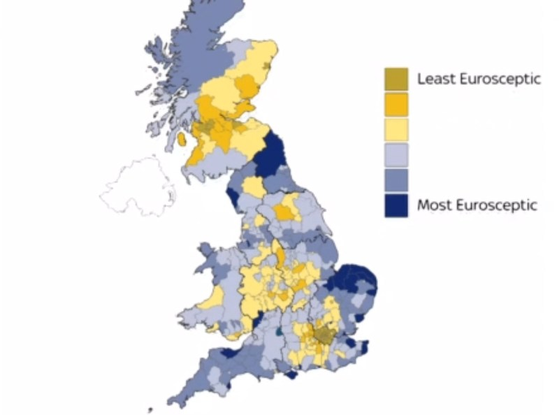 Britain's most and least Eurosceptic areas. Photo: Sky