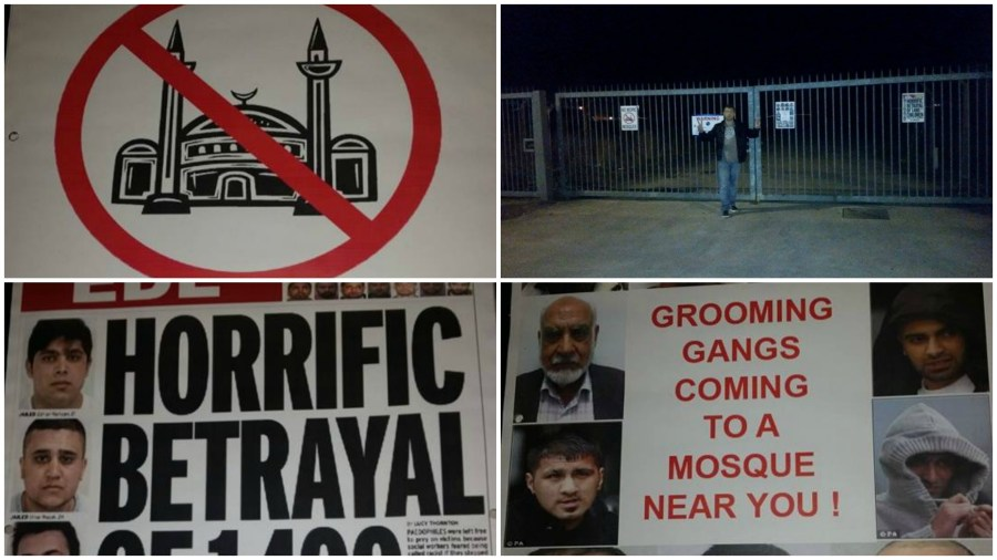 The religiously aggravated posters were plastered on the front of the mosque site.