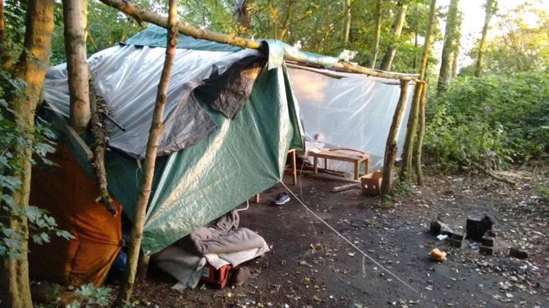The tent in woodland on the edge of Lincoln