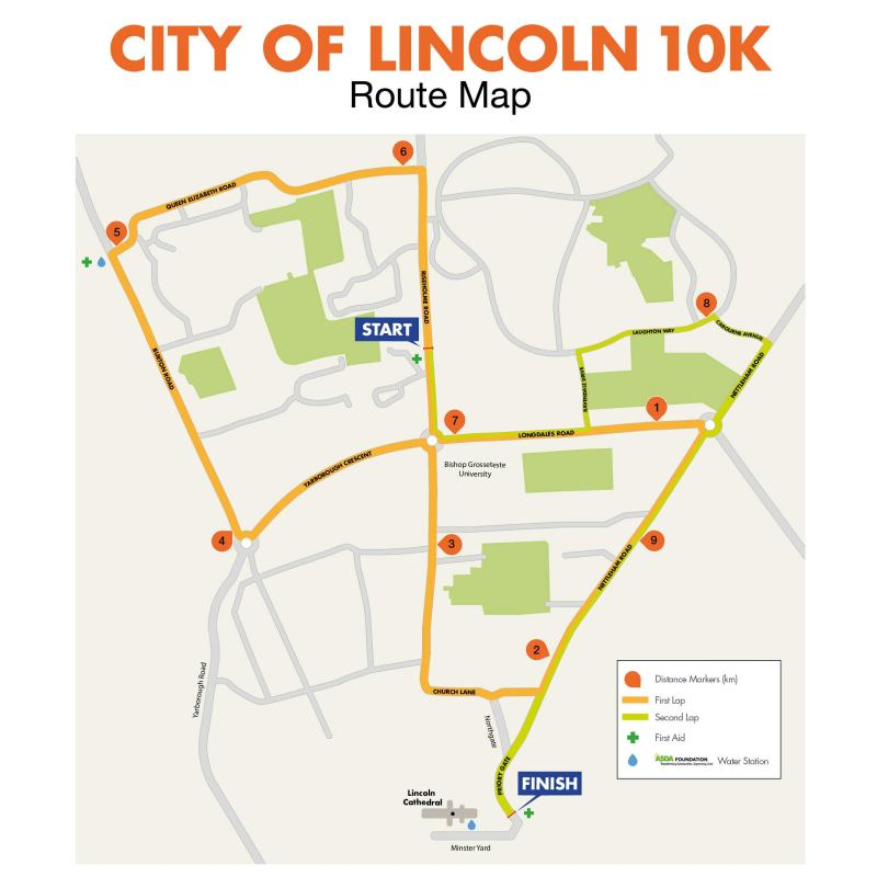 The Lincoln 10K course finishes at Lincoln Cathedral