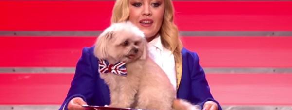 Lucy Heath with her dog Trip Hazard. Screenshot: YouTube