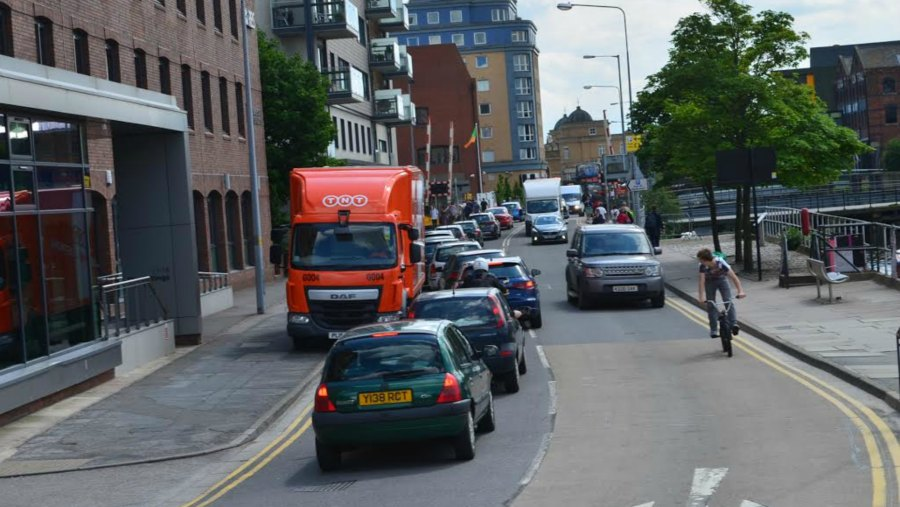 Brayford Wharf East between Wigford Way and St Marks is now a one-way road. Photo: The Lincolnite