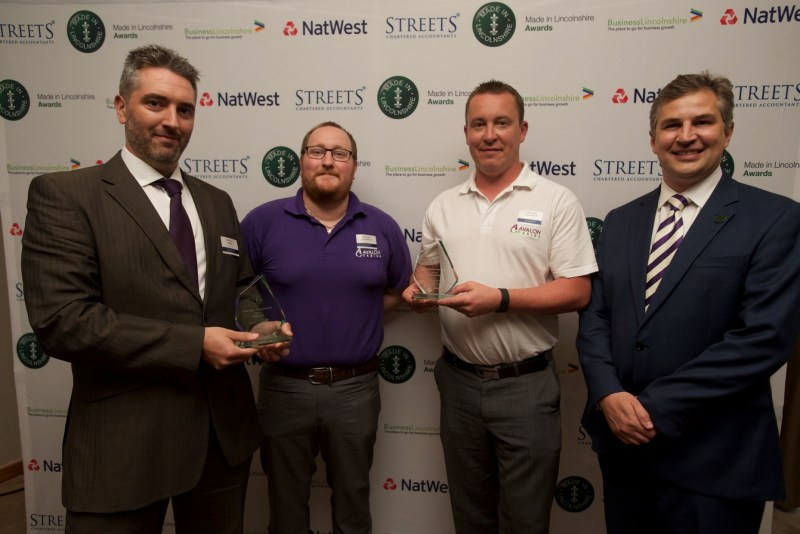 To Be Made in Lincolnshire winners BGB Sills and Avalon Cabins with Gary Headland, CEO of Lincoln College