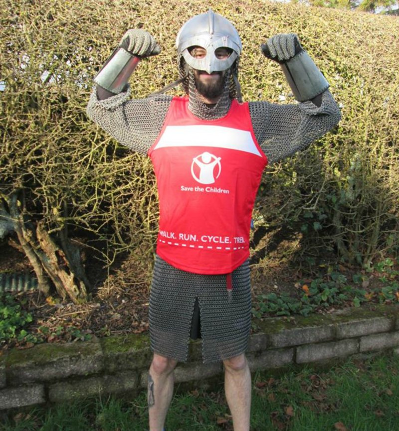 Liam will run 53.5 miles dressed as a viking. Photo: Liam the Viking Facebook Page