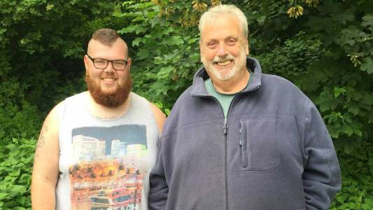 Lee Cupit with his trainer Geoff Capes, a three time Olympian.