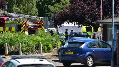 Police have put a forensic tent over the crime scene. Photo: Steve Smailes for The Lincolnite