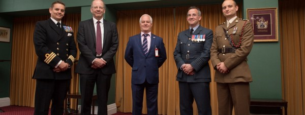 Commander David Robinson, David Williams, Military Programmes Manager at the University of Lincoln, Richard Hearne from the Chartered institue of Personnel and Development, Group Captain Adrian Bettridge OBE and Captain Thomas McEvoy at the launch of the new degree Programme at Defence College of Logistics, Policing and Administration.