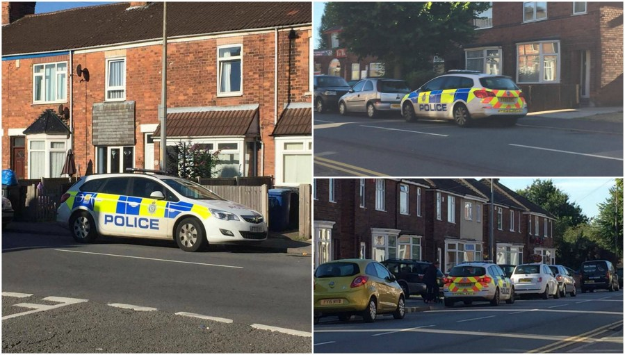 Police on Ropery Road in Gainsborough following the discovery of the body. Photo: The Lincolnite