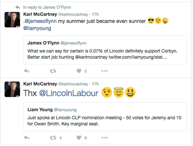Karl McCartney reacting to Lincoln Labour nominating Jeremy Corbyn