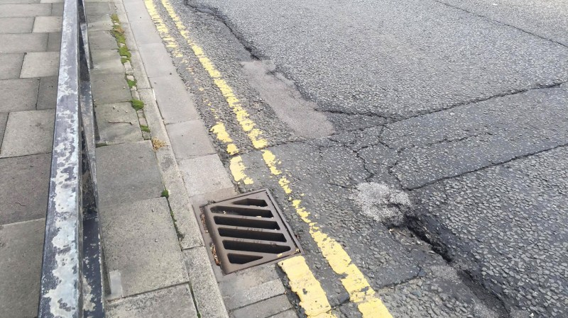 Damaged road surface on Wigford Way in Lincoln. Photo: Sarah Harrison-Barker
