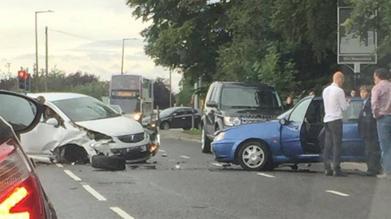 Up to three vehicles have been involved in the crash in Bracebridge Heath.
