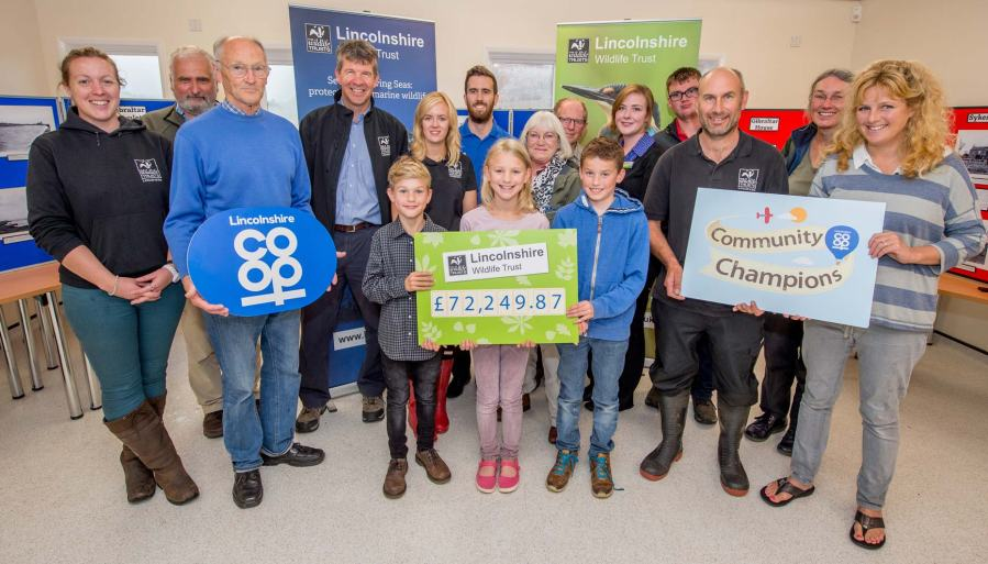 Members of the public joined Gibraltar Point Nature Reserve staff, Lincolnshire Wildlife Trust workers and colleagues from Lincolnshire Co-op to celebrate the £72,249 donation to the Lincolnshire Wildlife Trust.