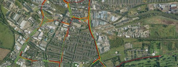 Commuters experienced heavy traffic in and out of Lincoln on the first day of the road closures. Photo: Google Maps