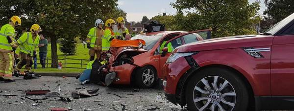 Tritton Road is currently closed following the two-car collision.