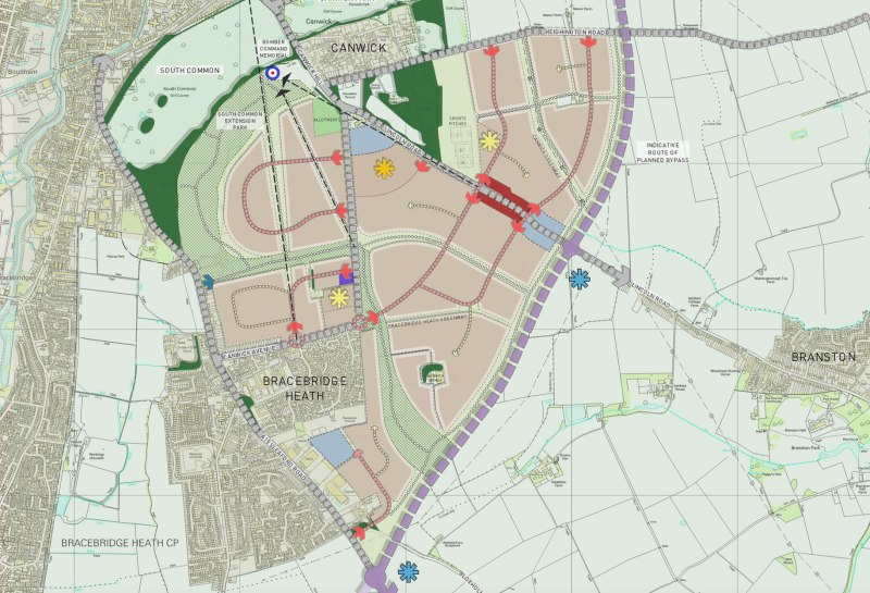 A full map of the Canwick Heath Sustainable Urban Extansion proposals and how they would fit in with the rest of Lincoln. Photo: North Kesteven District Council. Click to enlarge.