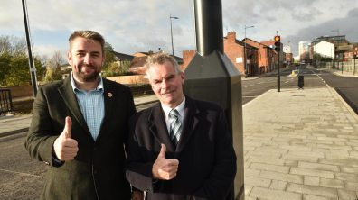 Councillor Richard Davies and Leader of Lincolnshire County Council Martin Hill at the opening of the East West Link Road. Photo: Steve Smailes for The Lincolnite