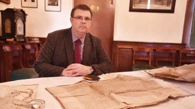 Richard Storey, Mayor's Officer with some of the Royal Charters on display. Photo: Steve Smailes for The Lincolnite