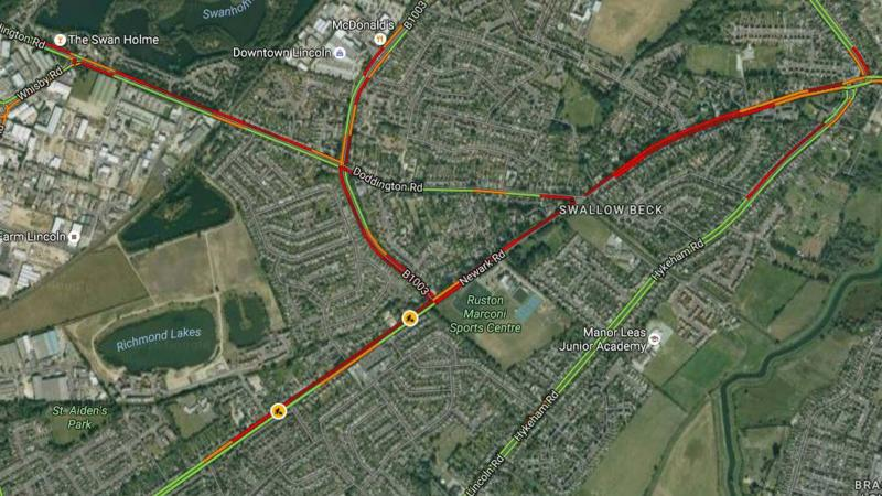 The road closure is affecting traffic on Newark Road. Photo: Google Maps