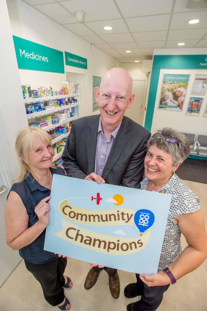 Lincolnshire Co-op donated more than £320, 804 to good causes through the Community Champions scheme. Charities Rethink and Headway benefitted from more than £86,900. Pictured from left are Rethink's Helen Doyle, Lincolnshire Co-op Head of Pharmacy Alastair Farquhar and Headway's Jane Reams