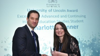 Winner of Exceptional Advanced and Continuing Higher Education Studies Student, Charlotte Bonner. Photo: Steve Smailes for The Lincolnite