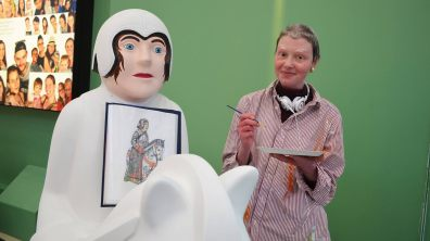 Emma McKinlay with her knight: The Guardian of the Forest. Photo: Sarah Barker for The Lincolnite
