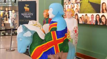 The knights are being painted in the Watershed Shopping Centre