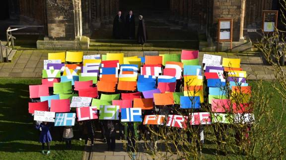 The funding boost was announced via a flashmob in front of the Cathedral. Photo: Steve Smailes for The Lincolnite