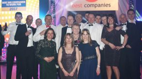 13 staff from Lindum Group at the awards ceremony for 'The Sunday Times Best 100 Companies to Work For'