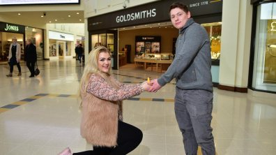 He said YES! Rachel Baxter, 20, popped the question to her boyfriend, Joshua Lynn, 22. Photo: Steve Smailes for The Lincolnite