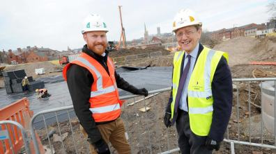 Council Leader Ric Metcalfe with Louis Feakes, Senior Building Manager at Willmott Dixon Construction
