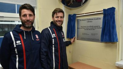 Danny and Nicky Cowley opening the new library at Sir Robert Pattinson School. Photo: Steve Smailes for The Lincolnite