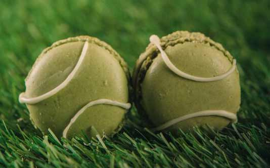 Tennis Ball Macarons are one of the many sweets available for afternoon tea