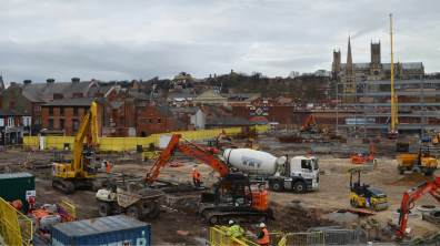 Construction on the new transport hub. Photo: Jamie Waller