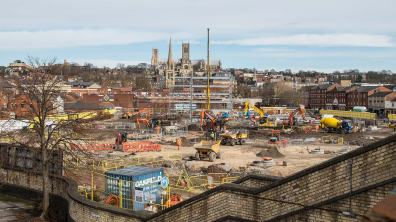 Construction work has now begun on the new £30m Transport Hub. Photo: Steve Smailes for The Lincolnite