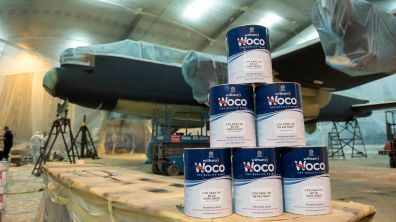 Avro Lancaster Just Jane is being painted with Witham's Woco Paint Photo: Steve Smailes