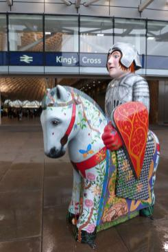 Emma's Lincoln Knight in front of King's Cross Station.